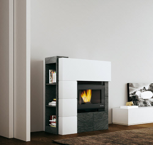 contemporary fireplace surround / slate / cement