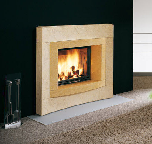 contemporary fireplace surround / marble