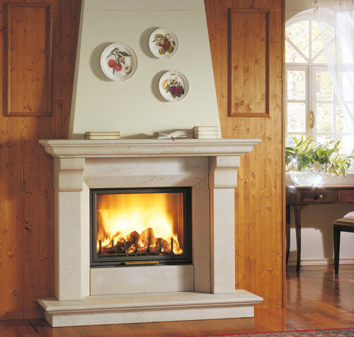 traditional fireplace mantel / marble