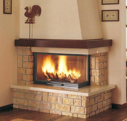 contemporary fireplace surround / marble / oak / corner