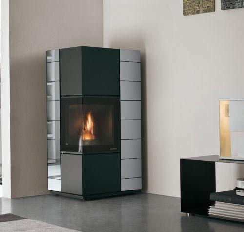 pellet heating stove / contemporary / corner / steel