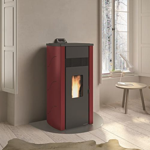 pellet heating stove / contemporary / steel / cast iron