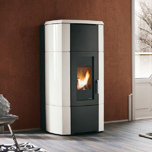 pellet boiler stove / contemporary / steel / ceramic