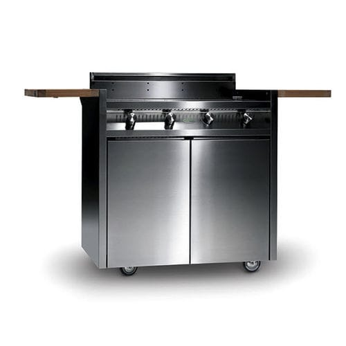 gas barbecue / on casters / cast iron / stainless steel