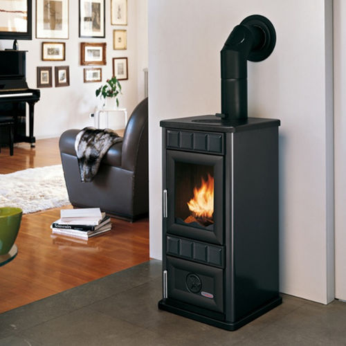 wood heating stove / contemporary / metal / ceramic