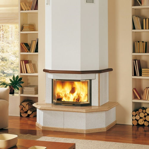 contemporary fireplace surround / stone / wooden