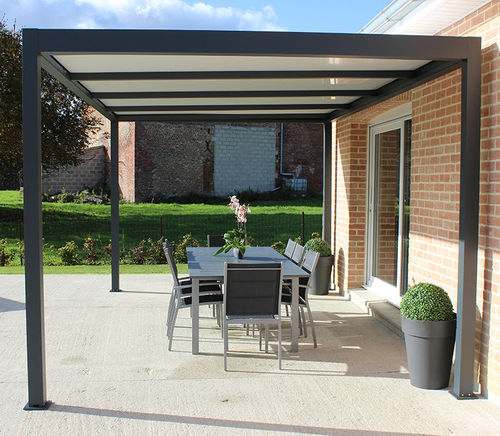 self-supporting pergola / aluminum / polycarbonate canopy
