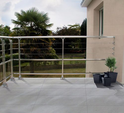 stainless steel railing / anodized aluminum / cable / glass panel