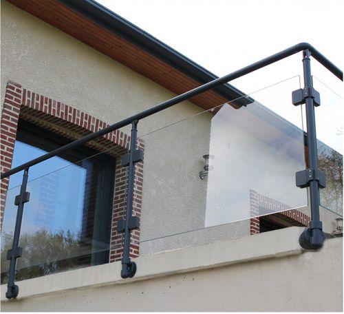 aluminum railing / glass panel / outdoor / for patios