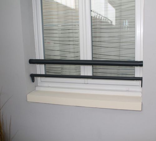 aluminum railing / with bars / outdoor / for windows
