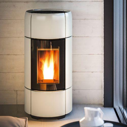 pellet heating stove / contemporary / corner / ceramic