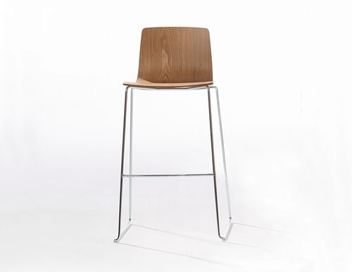 Contemporary bar stool / plywood / leather / chrome steel AAVA by Antti Kotilainen Arper