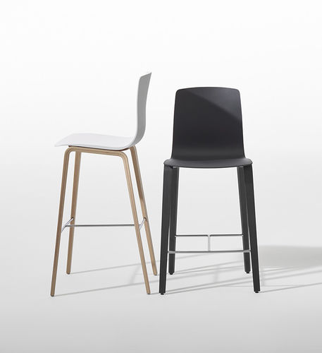 Contemporary bar stool / plywood / leather / fabric AAVA by Antti Kotilainen Arper