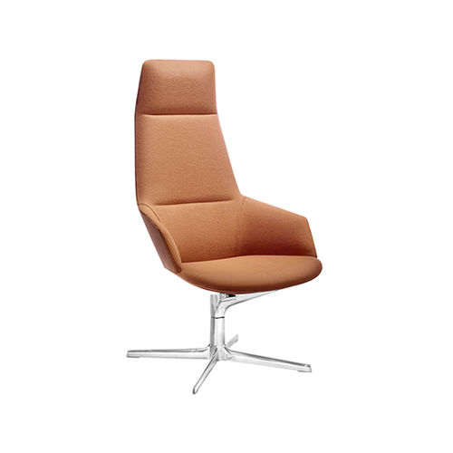 contemporary armchair / fabric / leather / aluminum