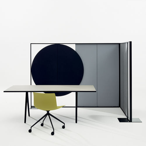 removable partition / fabric / metal / for offices