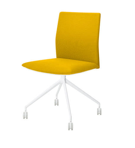 contemporary office chair / upholstered / with armrests / on casters