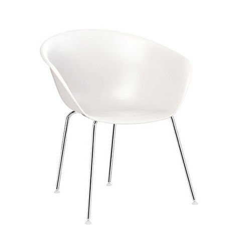 Contemporary chair / upholstered / leather / polypropylene DUNA 02  Arper