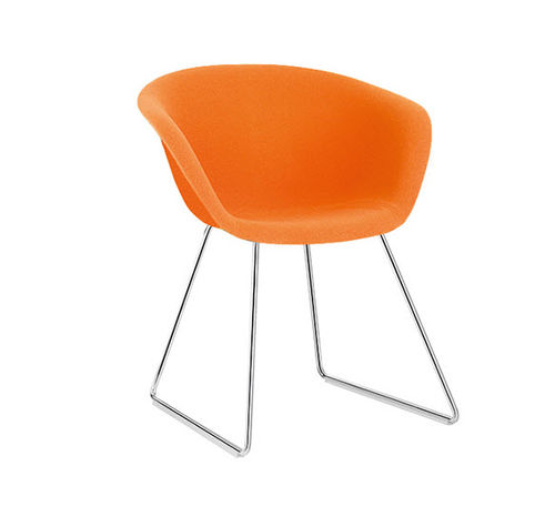 Contemporary chair / upholstered / sled base / fabric DUNA 02 Arper