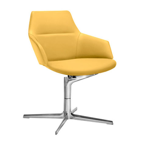 contemporary visitor armchair / fabric / leather / aluminum