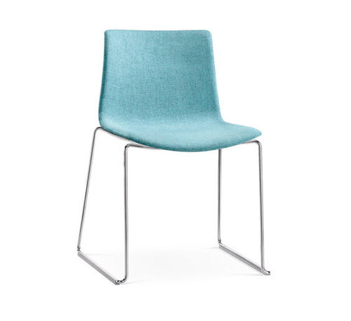 contemporary chair / with washable removable cover / stackable / with armrests