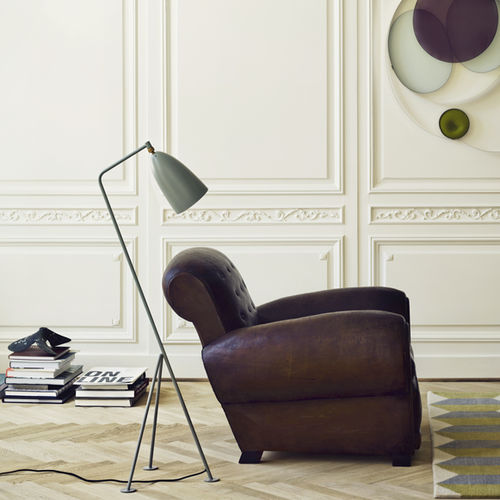 floor-standing lamp / contemporary / metal / tripod