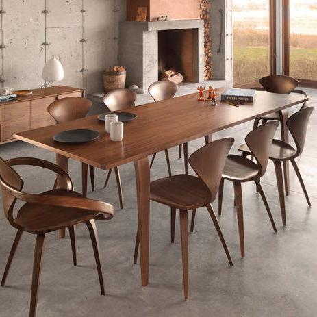 contemporary table / walnut / molded plywood / rectangular