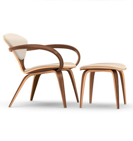 organic design lounge chair / walnut / with armrests / with footrest