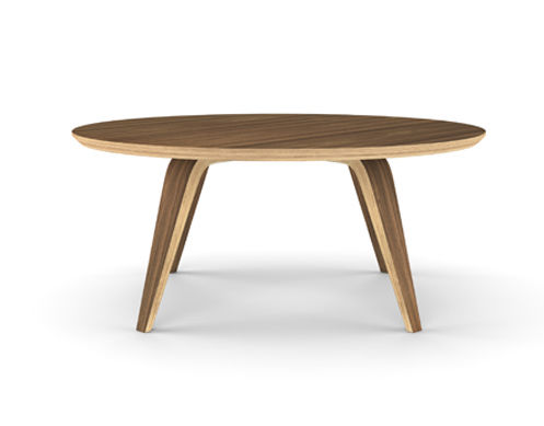 contemporary coffee table / walnut / molded plywood / round