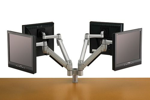 wall-mounted monitor support / desktop / quadruple / double