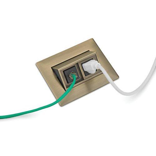 data socket / double / recessed / metal