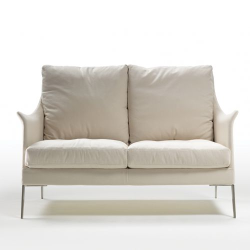 compact sofa / contemporary / fabric / leather