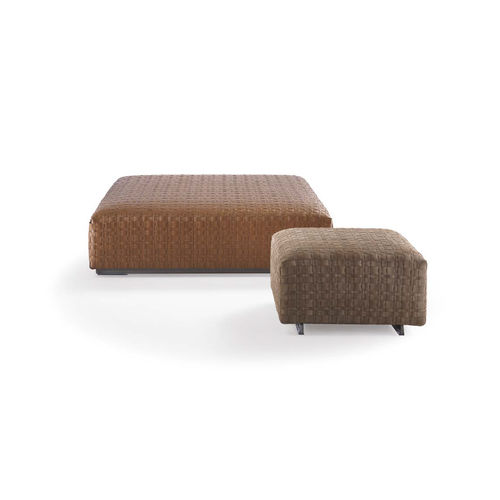 contemporary pouf / fabric / leather / with removable cover
