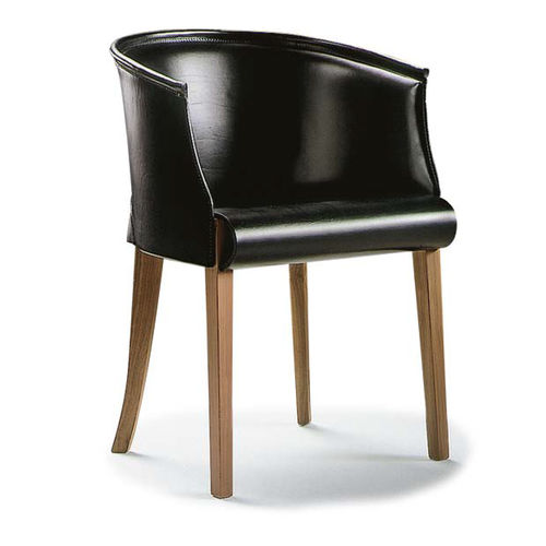 traditional armchair / solid wood / leather / bridge