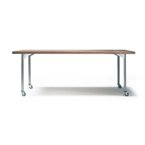 contemporary table / stained wood / metal / rectangular