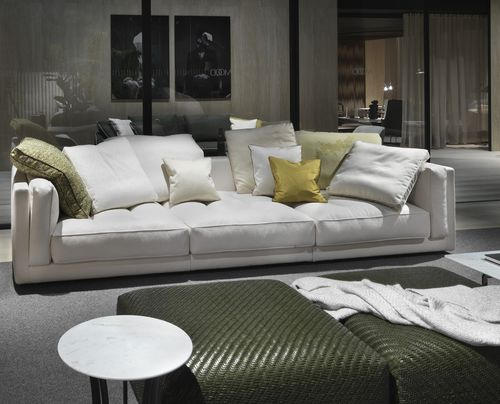 contemporary sofa / fabric / leather / 3-seater