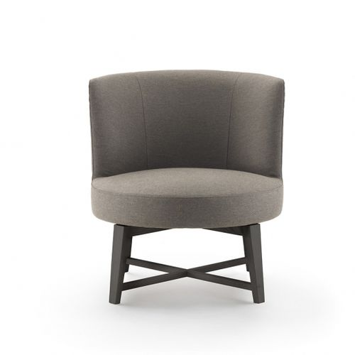 contemporary fireside chair / fabric / leather / cast aluminum