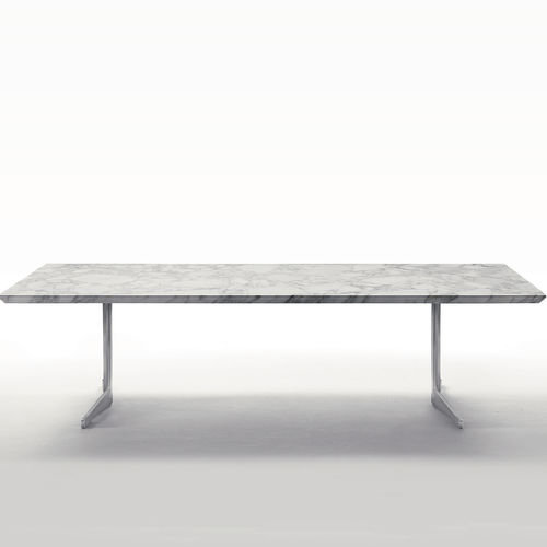 contemporary dining table / wooden / metal / marble