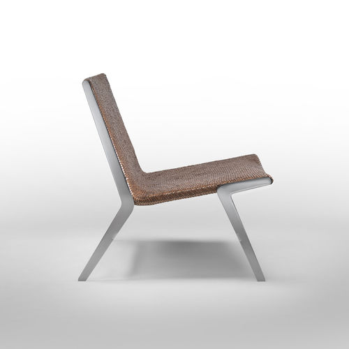 contemporary fireside chair / leather / metal / by Antonio Citterio