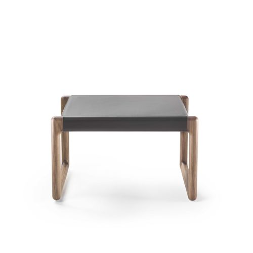 contemporary ottoman / wooden / leather / indoor