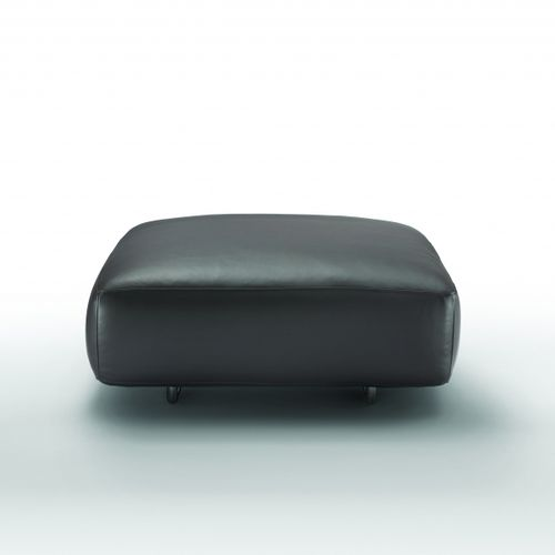 contemporary ottoman / fabric / leather / with removable cover