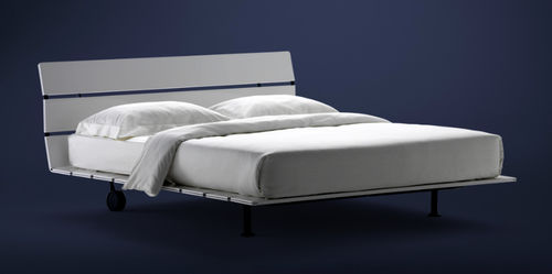 double bed / contemporary / with headboard / on casters