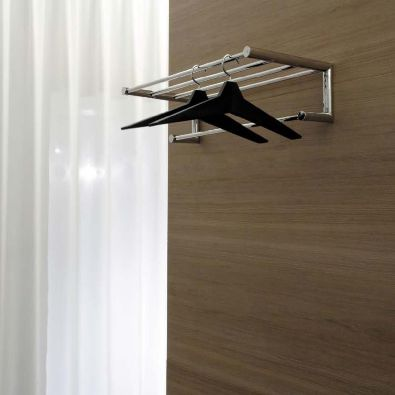 wall-mounted shelf / contemporary / stainless steel