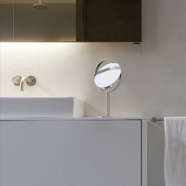 table bathroom mirror / magnifying / double-sided / contemporary
