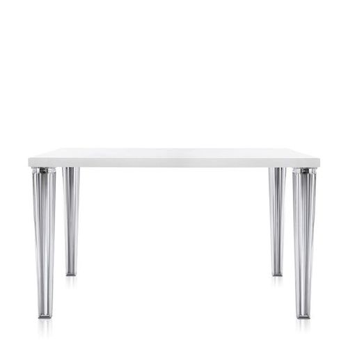 contemporary dining table / glass / metal / polyester