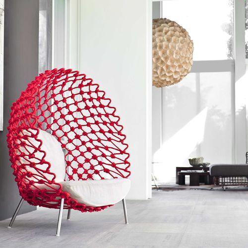 Original design armchair / fabric / steel / stainless steel DRAGNET Kenneth Cobonpue