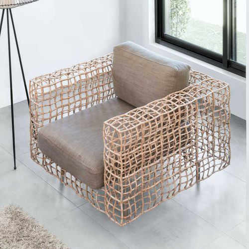 Contemporary armchair / rattan / steel / stainless steel YIN & YANG Kenneth Cobonpue