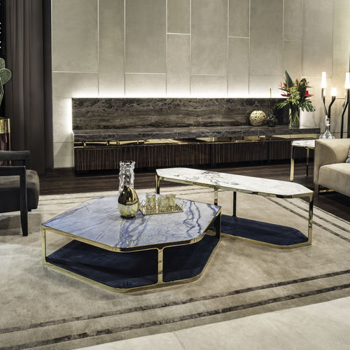 contemporary coffee table / steel / leather / marble