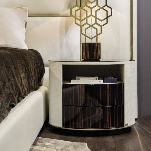 contemporary bedside table / wooden / leather / glass