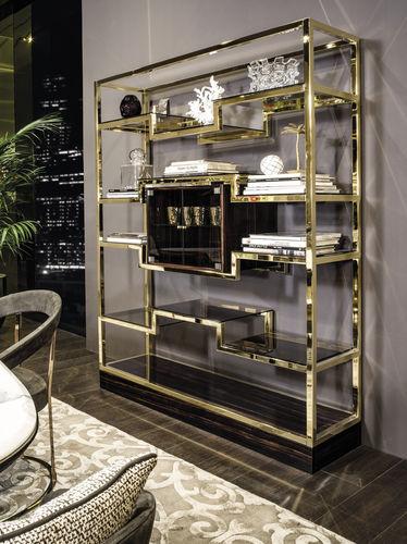 contemporary shelf / walnut / ebony / metal