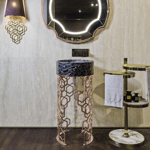 free-standing washbasin / round / marble / metal